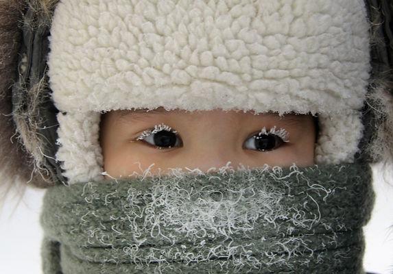 мальчик, иней, зима, мороз, шапка, шарф