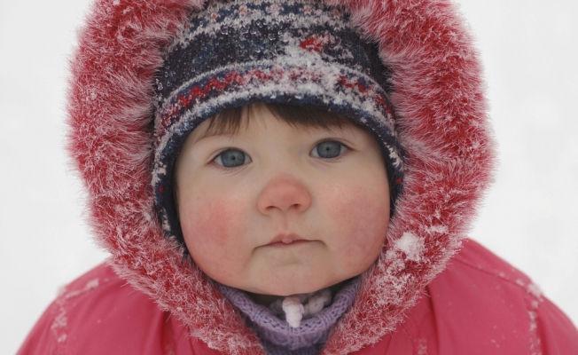 девочка, мороз, красный нос, куртка, зима