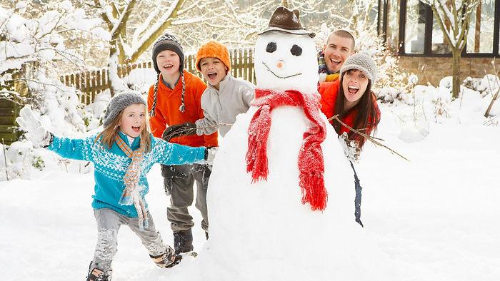 семья, дети, снеговик, зима, снег