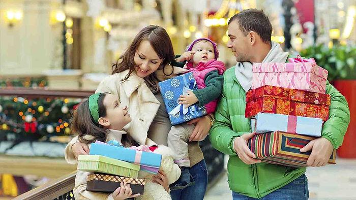 покупки, семья, новый год, подарки, праздники, мама, папа, дети