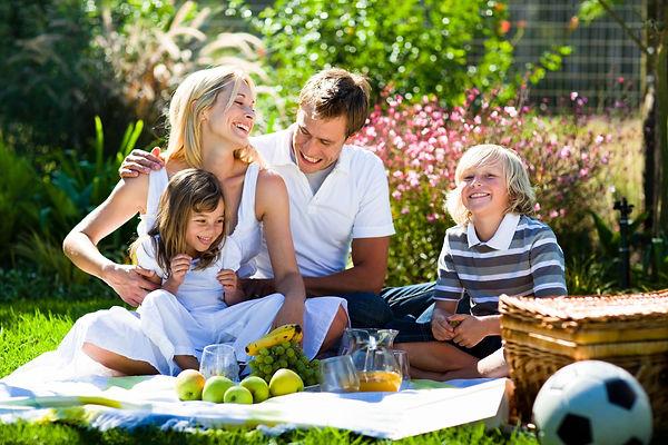 пикник, семейный пикник, родители, дети, фрукты