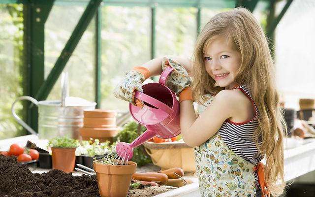девочка, лейка, поливает цветы
