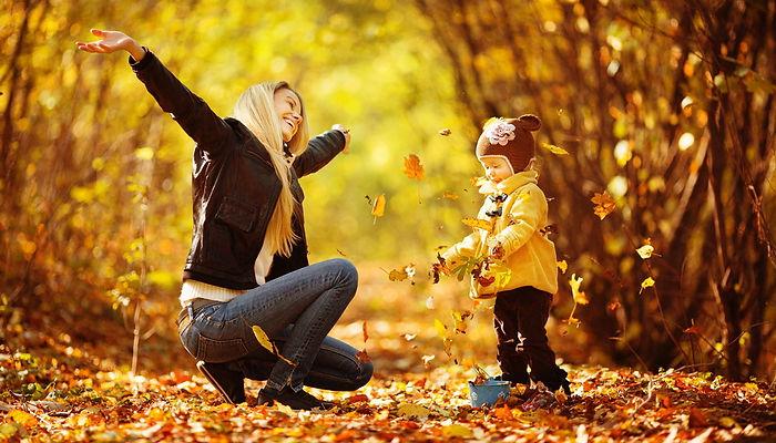 листопад, мама, дочк, дочь, осень, золотая осень