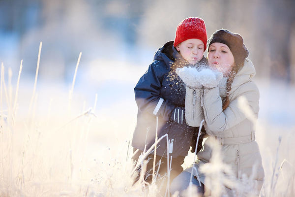 мать, сын, мама, зима, снег