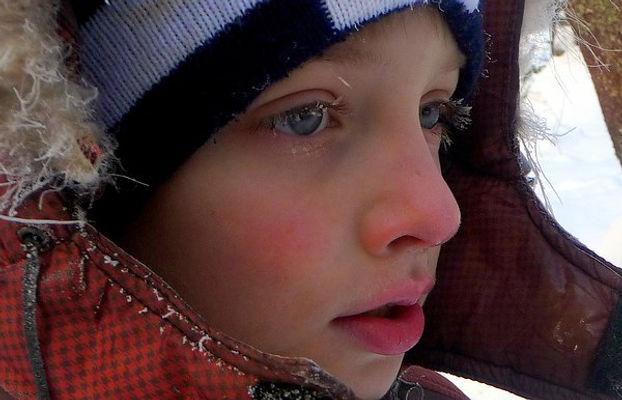 мальчик, мороз, шапка, иней, капюшон, февраль, зима