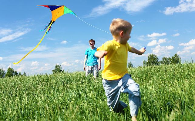 воздушный змей, мальчик, папа, поле
