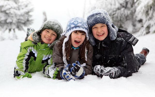 дети, зима, мальчики, девочка, снег