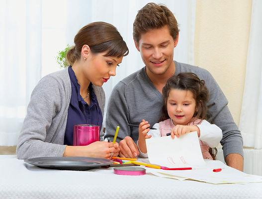 мама, папа, дочь, родители, рисование, творчество
