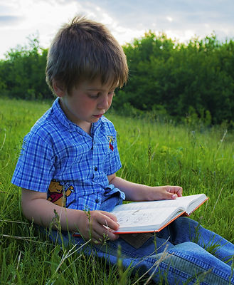 мальчик, лужайка, трава, книга