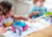 дети за столом, приборы, сервировка, мальчик, девочка