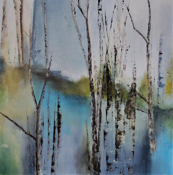 "Acrylic on Birch Board  18"" x 18""  21D3A"