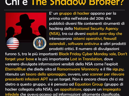 Per la serie BlackHat Hacker, oggi parliamo di The Shadow Broker