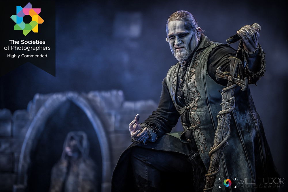 "The Societies of Photographers awarded a ""Highly Commended"" to this image of Powerwolf during their set at Bloodstock Festival, Catton Park Derbyshire - August2019"