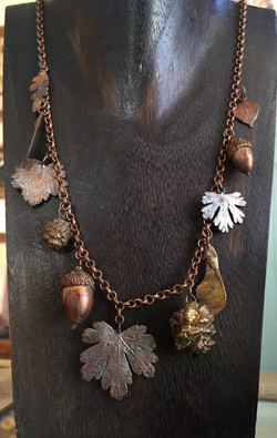 Copper Leaves and Seeds Necklace