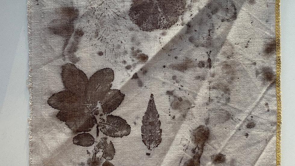 Coupon de tissu 100% lin Ecoprint - T024