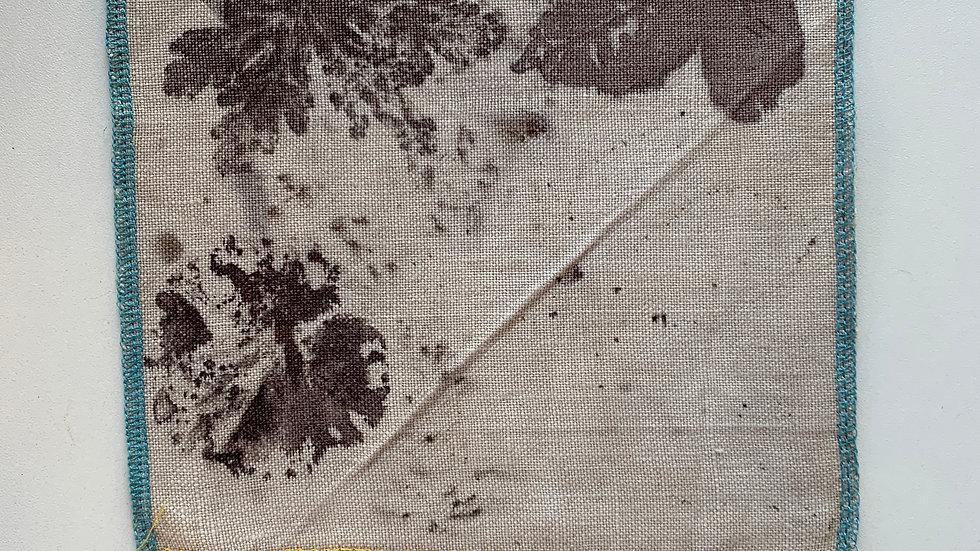 Coupon de tissu 100% lin Ecoprint - T004