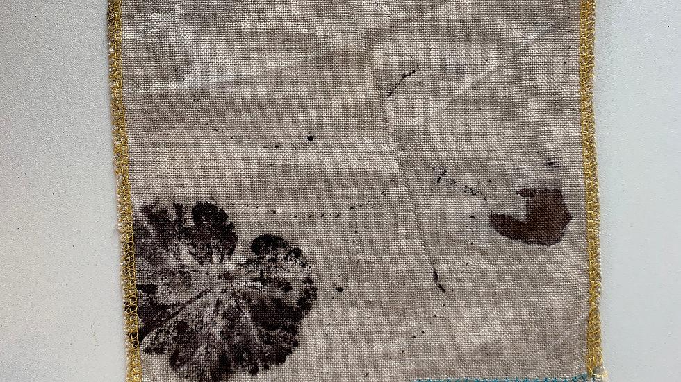 Coupon de tissu 100% lin Ecoprint - T007
