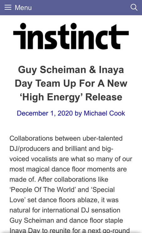 THANK YOU INSTICT MAGAZINE FOR THE GREAT ARTICLE ABOUT 'HIGH ENERGY'