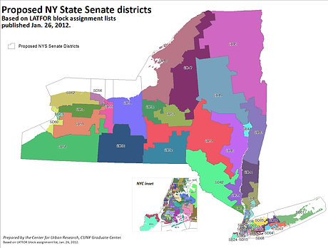 Map of NY State Senate Districts