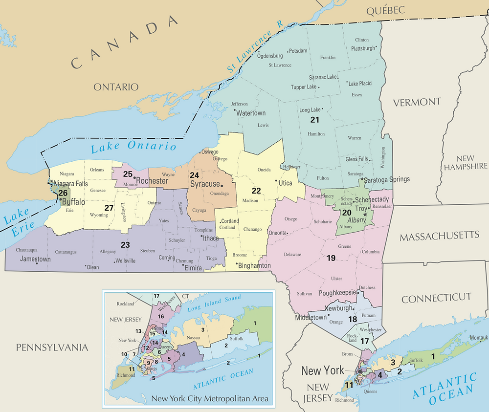 District Map of New York's Representation in the House of Representatives