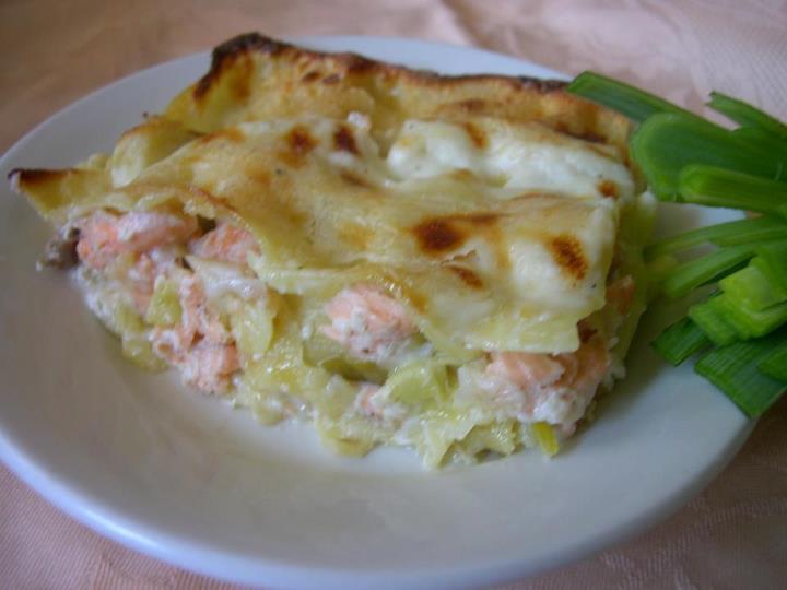 Lasagnes fondue de poireaux et saumon