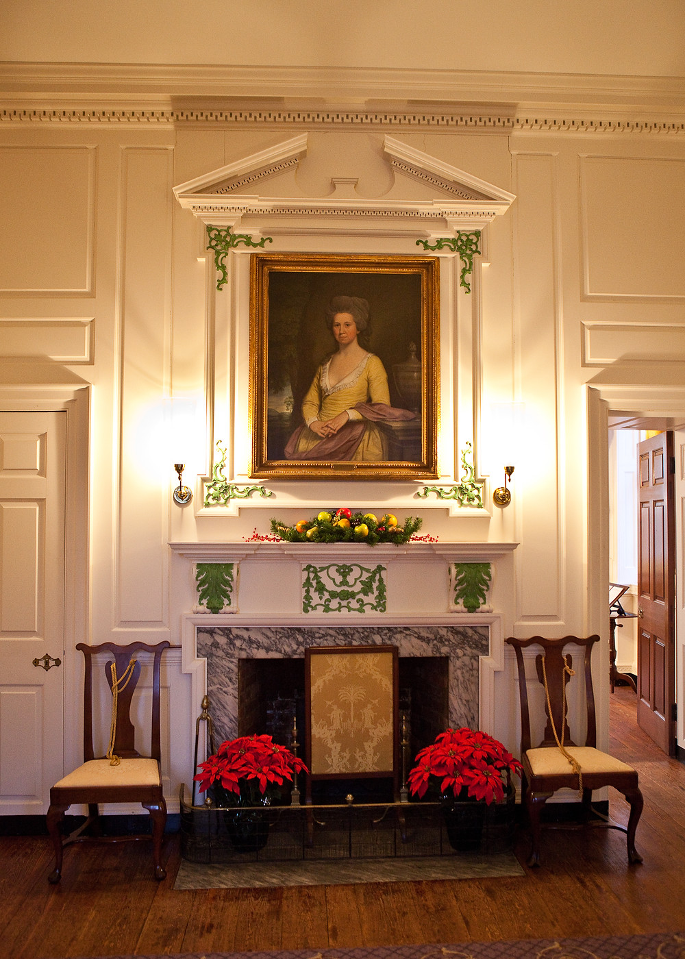 "Elizabeth Willing Powel, as featured in her ""mourning"" portrait in the Withdrawing Room of the Powel House"