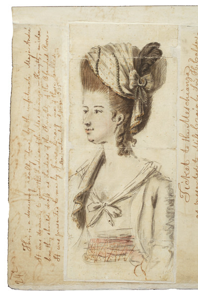 "Sketch by Major John André of the proposed costume for women attending the Meschianza as ladies of ""The Knights of the Blended Rose"" from John Fanning Watson, Extra Illustrated Manuscript of Annals of Philadelphia (1830). Courtesy, The Library Company of Philadelphia."