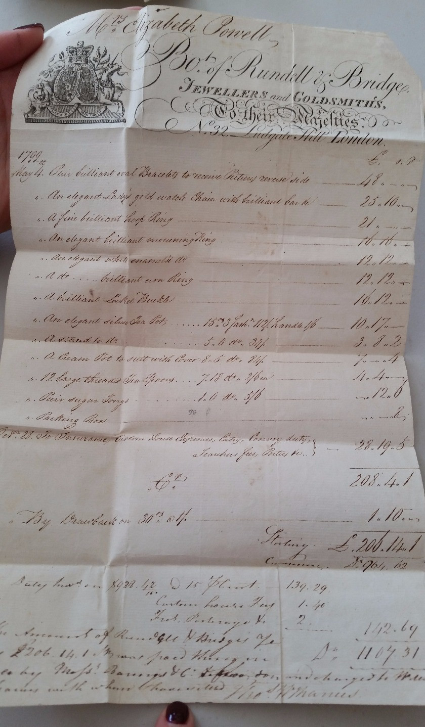 Rundell & Bridge receipt from 1799