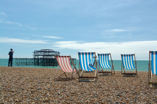 West Pier deck chairs, Brighton