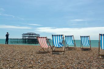 West Pier deck chairs, Brighton