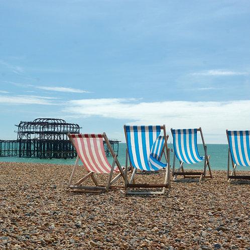 Brighton Beach West pier and deckchairs