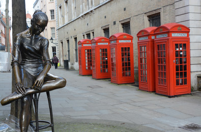 Sculpture and telephone Boxes, Covent Garden, London, 2014