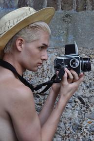 Danny with camera, Brighton