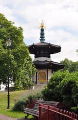 Buddah Peace Pagoda and bench, Battersea Park