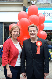 Ruth Cadbury, Parliamentary Candidate with Eddie Izzard, Hounslow 2014