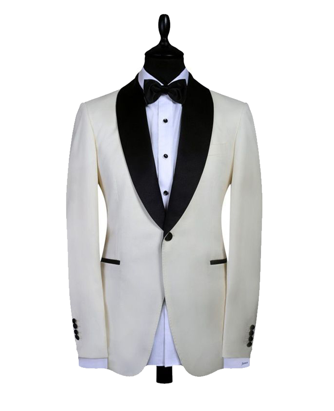 Cream with Black Round Lapel Trim