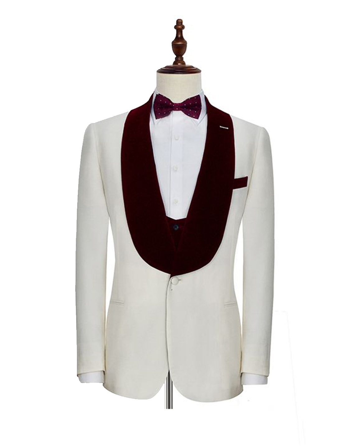 White with Black Wide Lapel Trim