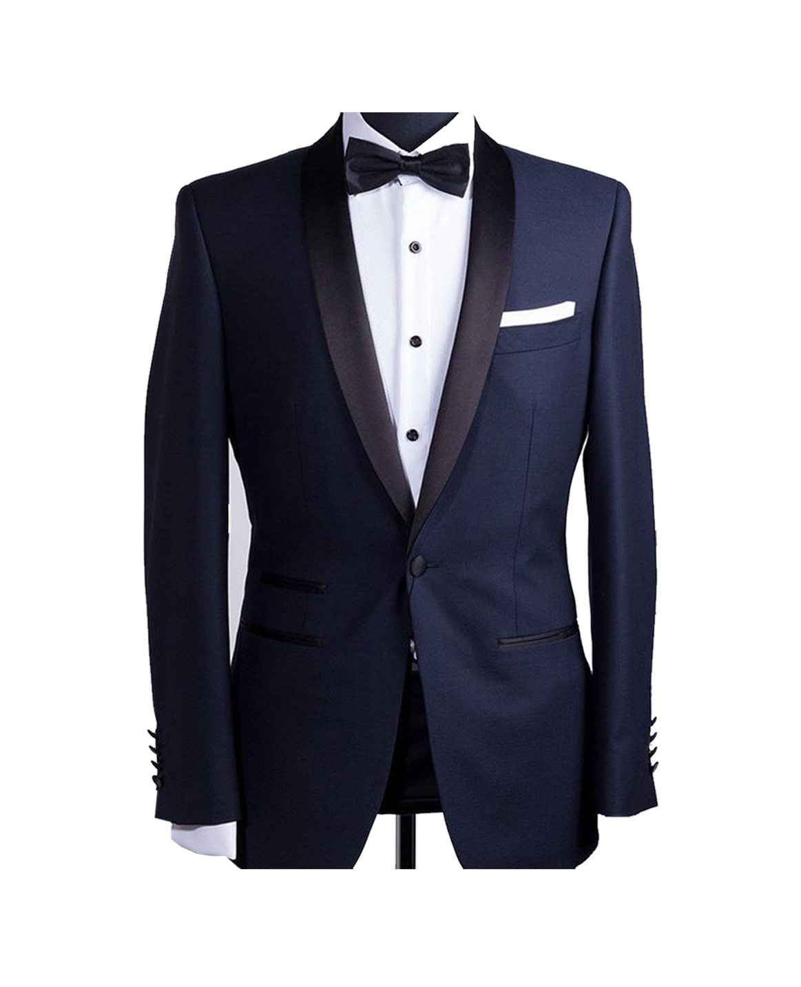 Dark Navy with Black Round Lapel Trim