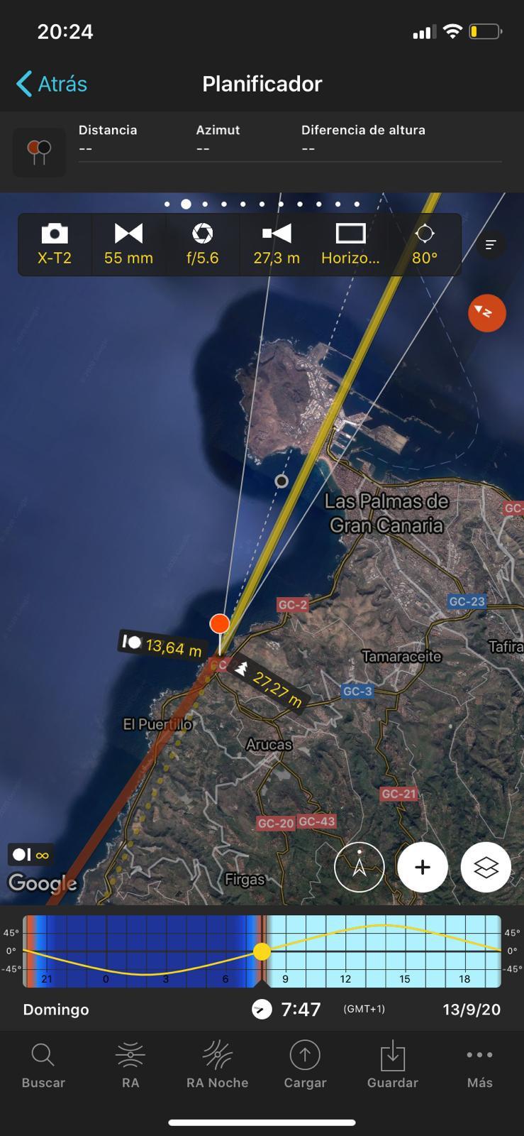 Captura de pantalla de la planificación de un amanecer con Photopills en Arucas. Debajo de la Granja del Cabildo de Gran Canaria