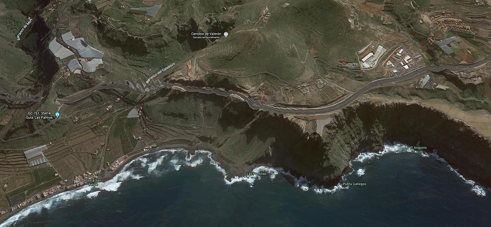 Mapa con la localización con Google Earth de las puntillas Santa María de Guía