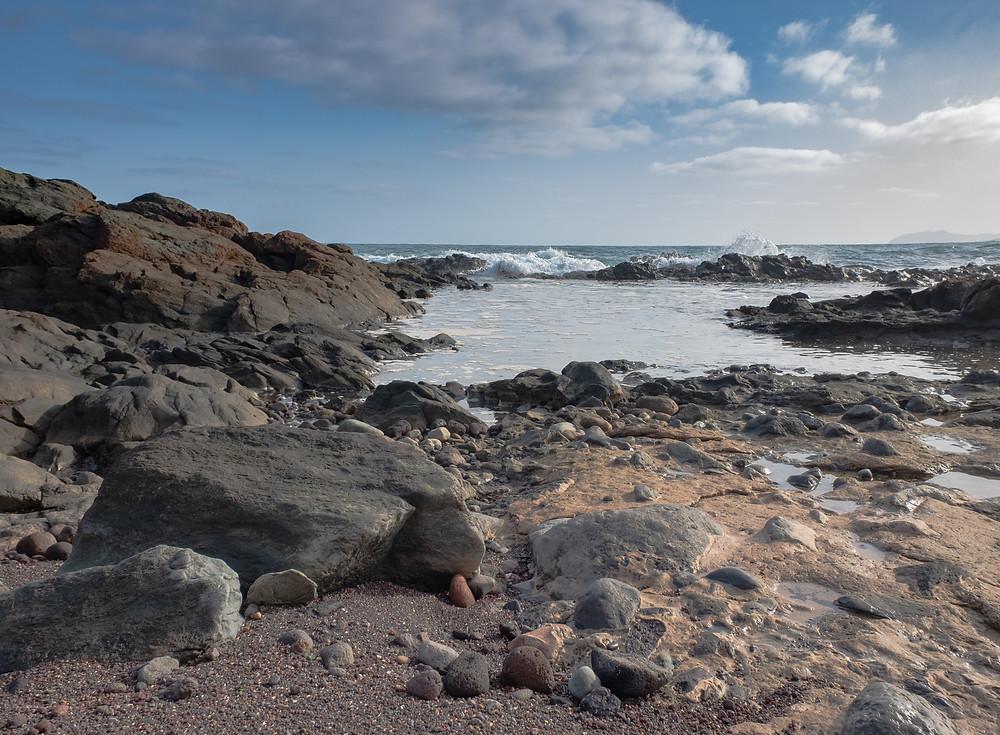 Fotografía en la Playa de Vagabundos, Santa María de Guía. Litoral del norte de Gran Canaria