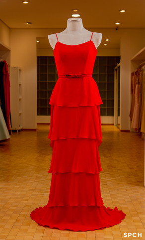 Crepe romain pura seda, camadas, cor vermelho intenso