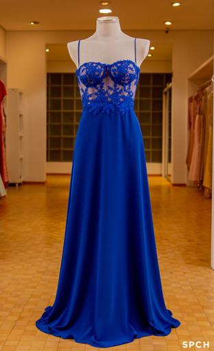 Crepe, corselet, rendas delicadas, cor azul Klein