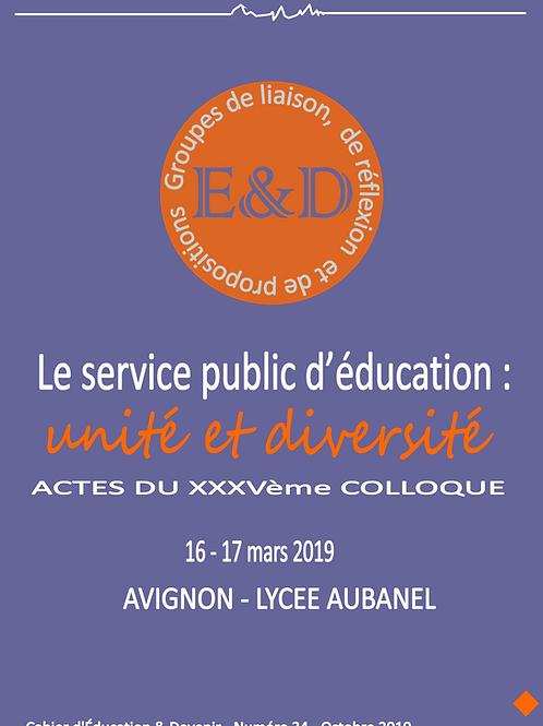 Janvier 2020 - Cahier n° 34- Le service public d'éducation : unité et diversité