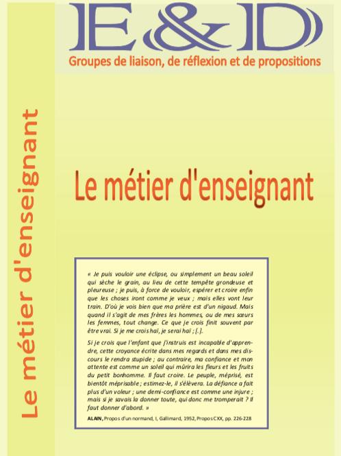 Avril 2014 _ cahier 22 _ Le métier d'enseignant