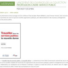 WEBINAIRE Lancement des ouvrages de la collection profession cadres service public