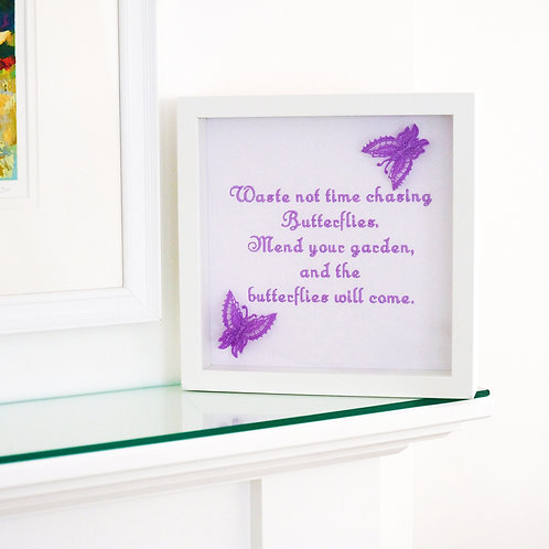 Embroidered Butterfly Framed Quote
