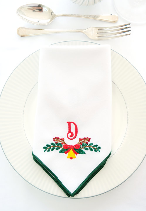 Christmas Bow & Bell Personalised Napkin