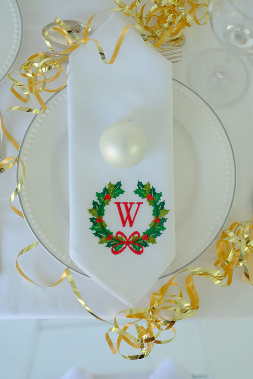 Christmas Wreath Personalised Napkin (Red & Green)