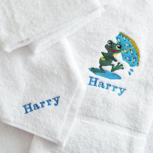 Childrens & Babies Embroidery Towel & Face Cloth Set